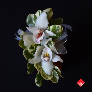 Double Orchid corsage for Montreal wedding