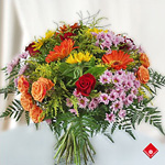 A colorful hand-tied french bouquet.