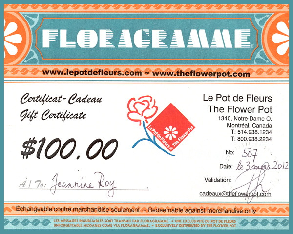 Florist gift certificate from The Flower Pot.