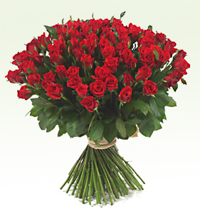 101 roses in a red rose bouquet.