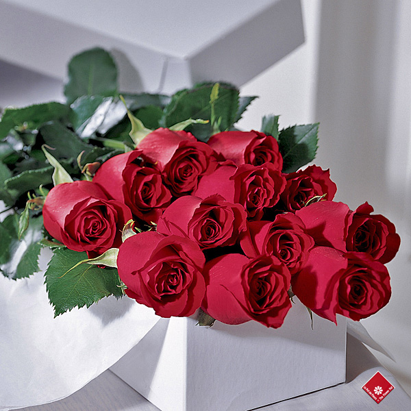 A box of roses for a romantic rose delivery.
