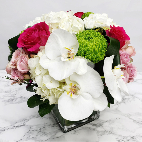 Fuschia roses, white phalaenopsis and more for Montreal delivery.