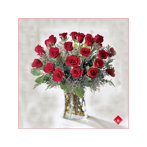 Two dozen roses in a vase.