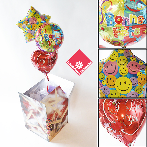 3 Mylar balloons in a box delivered in Montreal