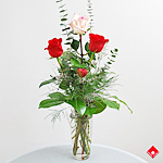 Three Valentine's Day roses in a vase.