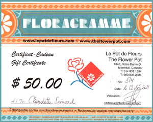 $25 Florist gift certificate at 20% off from The Flower Pot.