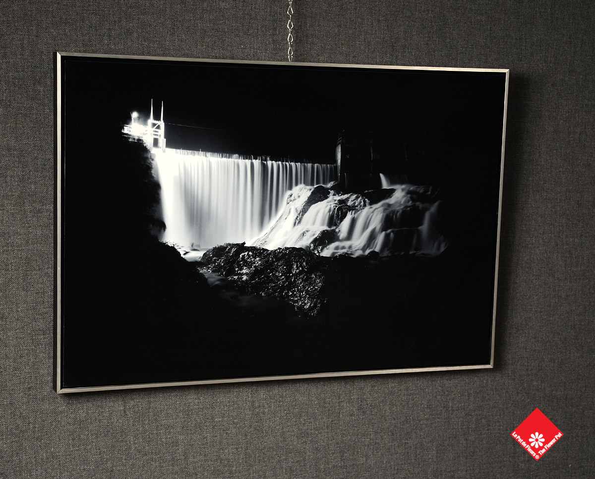 A beautiful night-time view of a dam, printed on acrylic.