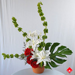 Contemporary floral arrangement.