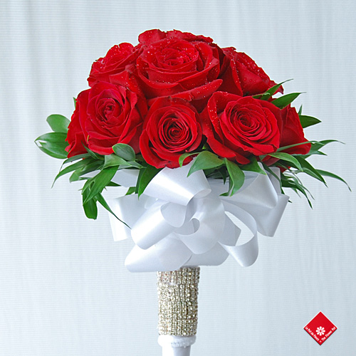 Red Rose Wedding Bouquet - created by The Flower Pot in Montreal