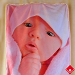 Your digital image on a custom photo baby blanket.