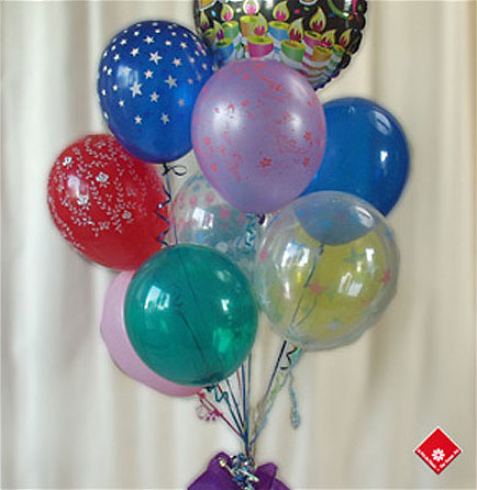 Balloon bouquet for a Montreal celebration.