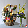 Fruit and flower basket with irresitible gourmet items.
