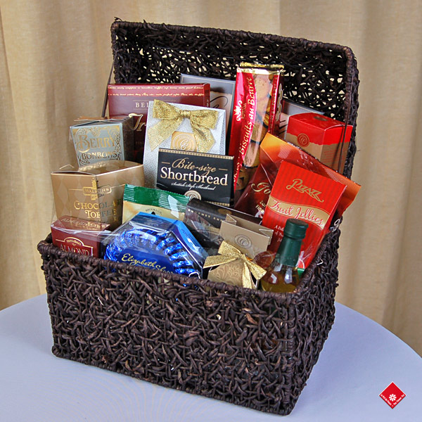Gift basket with montreals finest gourmet foods the flower pot gourmet gift items in a treasure chest negle Image collections