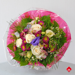 Hand-tied bouquet of assorted flowers.
