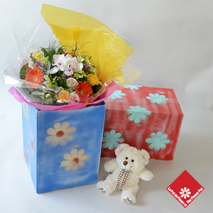 Florist's Choice Bouquet in a painted box -The Flower Pot