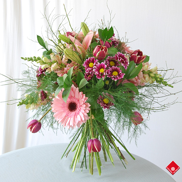 Hand-tied French Bouquet with lily, gerbera, snapdragon and more!