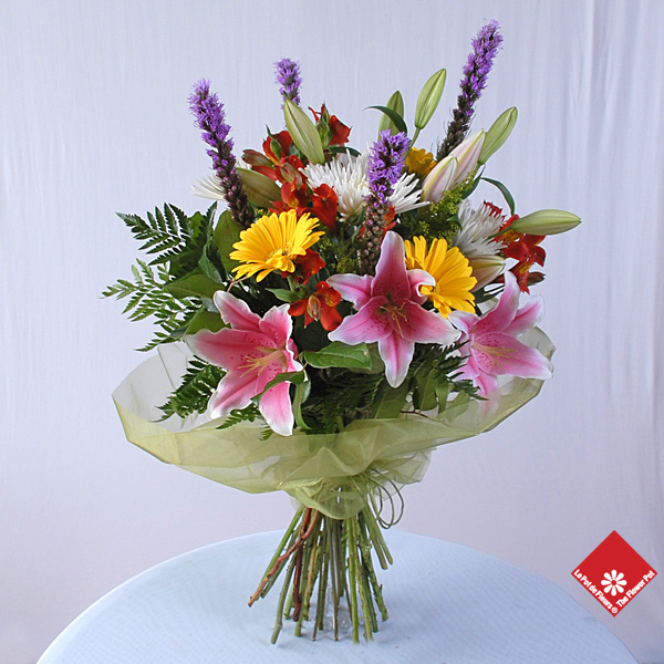 A colorful European hand-tied bouquet.
