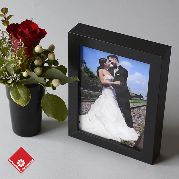 Custom photo gift with flowers in a vase