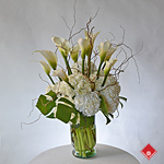 White calla lilies and hydrangeas.