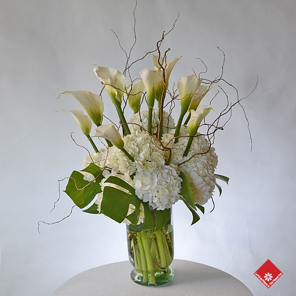 White calla lilies and hydrangeas