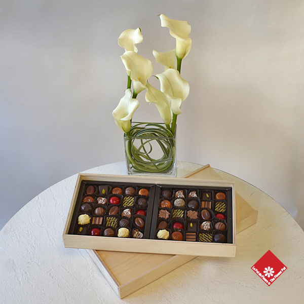 Box of 50 Montreal chocolate and truffles made in Montreal.