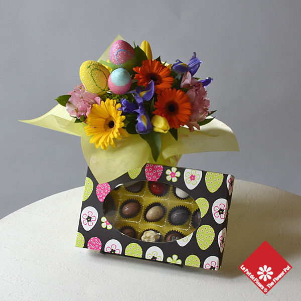 Unique Easter gift: 15 chocolates and Springflowers