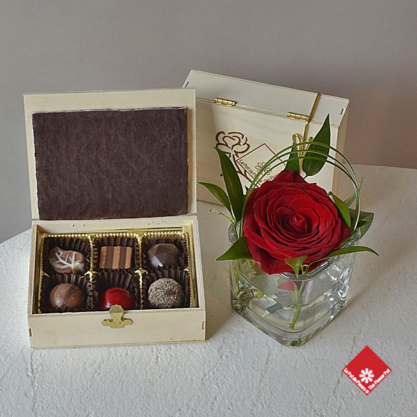 Handmade chocolates & truffles and a rose
