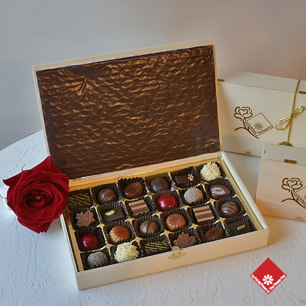 Box of 24 chocolates made in Montreal.