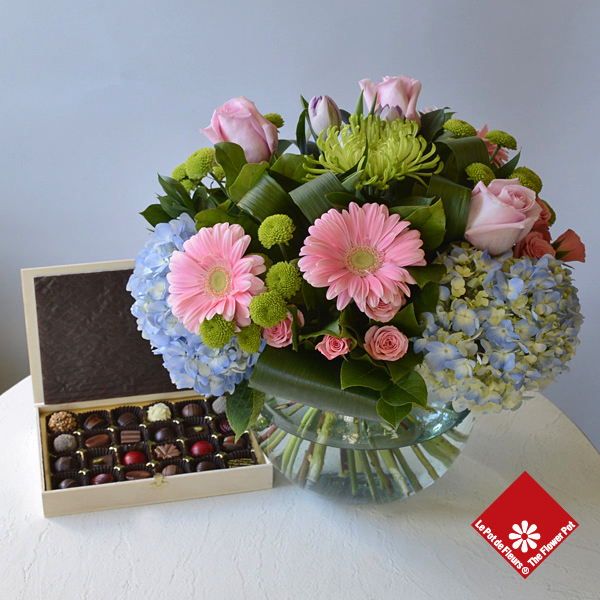 24 chocolates and large Vase with flowers