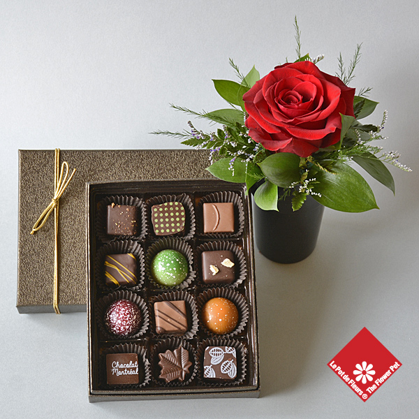 Handmade chocolates and rose arrangement