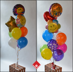 Colorful helium balloon bouquet for Montreal delivery.