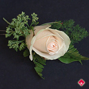 Boutonniere with a champagne colored rose for a Montreal wedding.