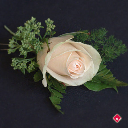 Boutonniere with a champagne colored rose for a Montreal wedding - The Flower Pot