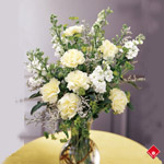 Sympathy arrangements of white carnations and snapdragons.