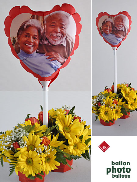 Your favourite photo on a Valentine heart balloon.