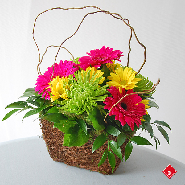Colourful flower basket ready for Montreal delivery.