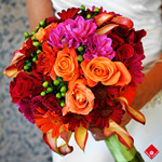 Tropical wedding bouquet.