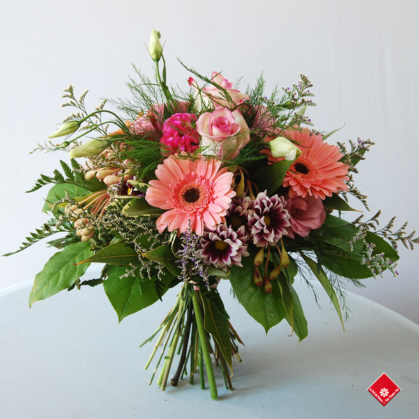 A colorful hand-tied bouquet.
