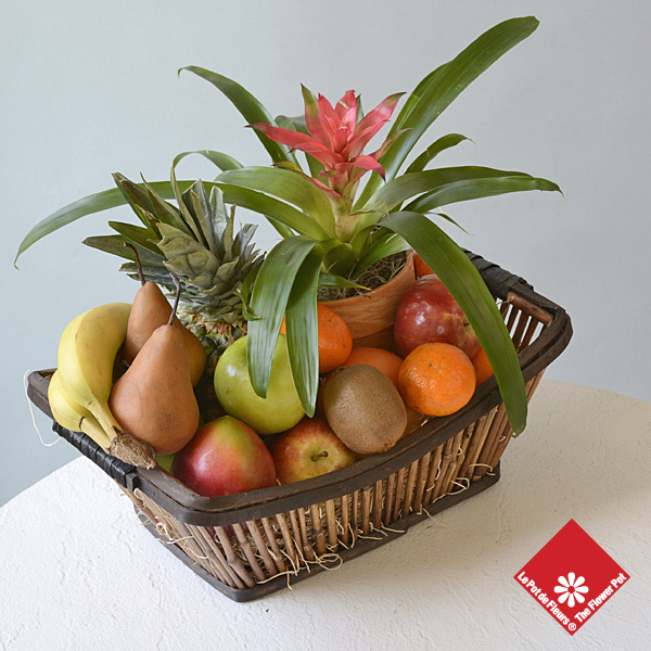 Fresh fruit basket and blooming plant.