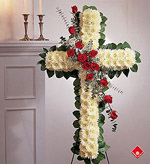 Red roses and daisies traditionnal floral cross.