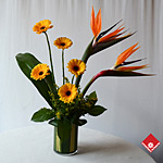 Orange flower arrangement in Montreal.