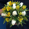 Alstroemeria and rose bouquet.
