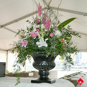 Wedding Flower Arrangement Inside The Tent