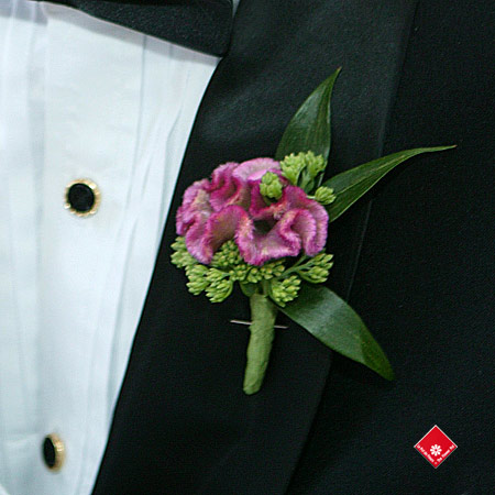 Groom boutonnière made of celosia flowers for a Montreal wedding.