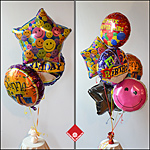 Celebrating with a mylar balloon bouquet.