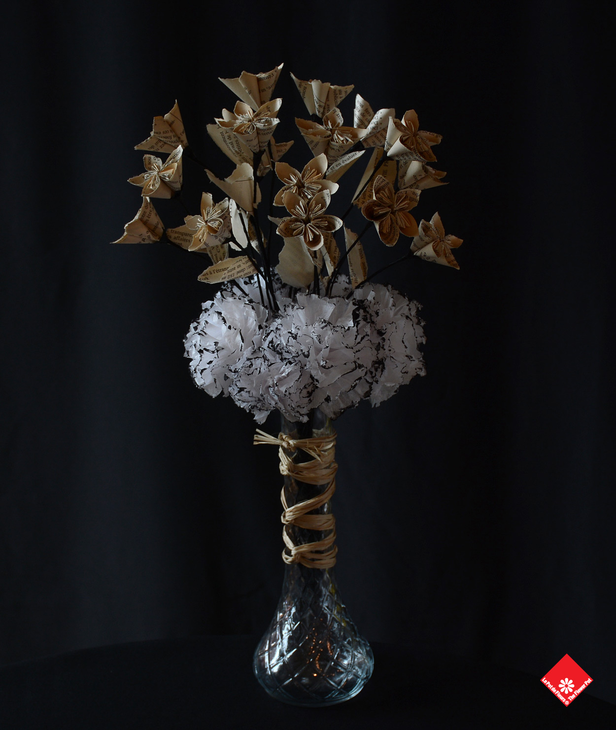 Our creative French florist created this wonderful paper flower arrangement made of newspapers and tissue paper.