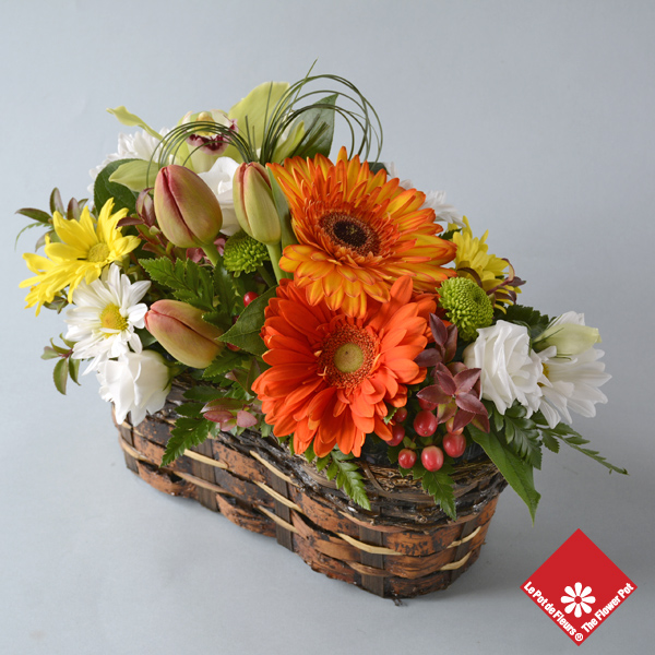 Colorful flower basket ready for Montreal delivery.