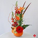 Pumpkin flower arrangement for Halloween in Montreal.
