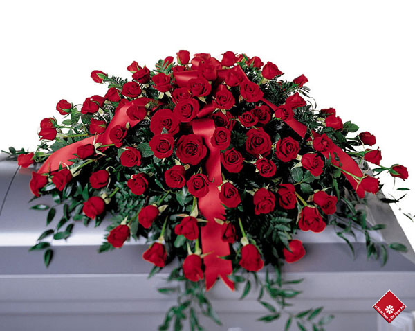 Red roses in a casket spray for Montreal delivery.