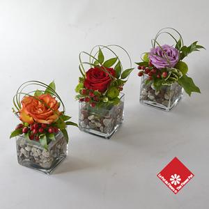 Rose Arrangements In Square Glass Vases The Flower Pot
